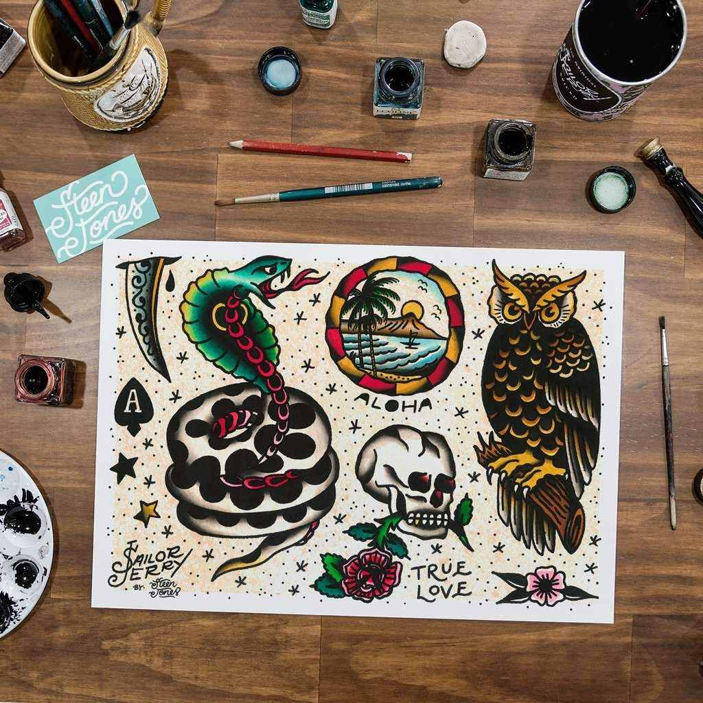 Steen Jones x Sailor Jerry 'Flash 6' Fine Art Print - Steenjones