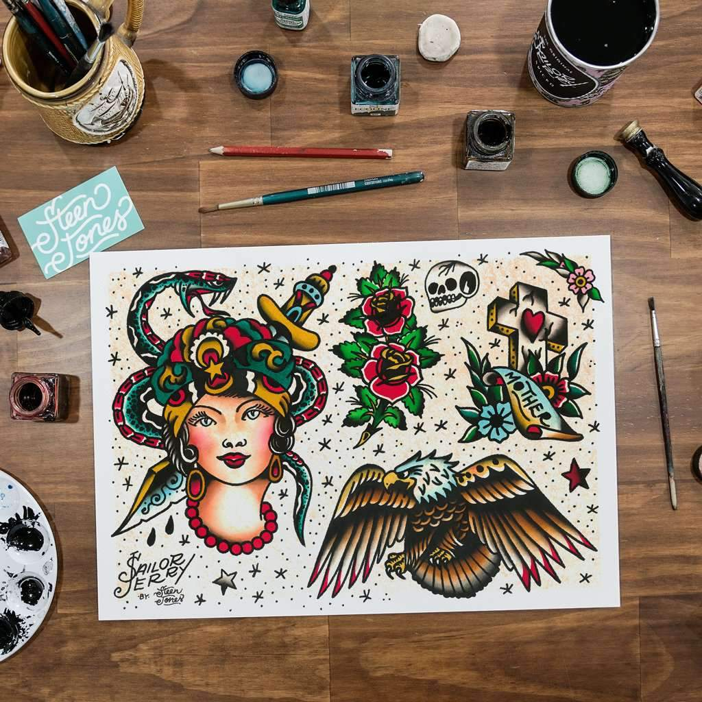 Steen Jones x Sailor Jerry 'Flash 7' Fine Art Print - Steenjones