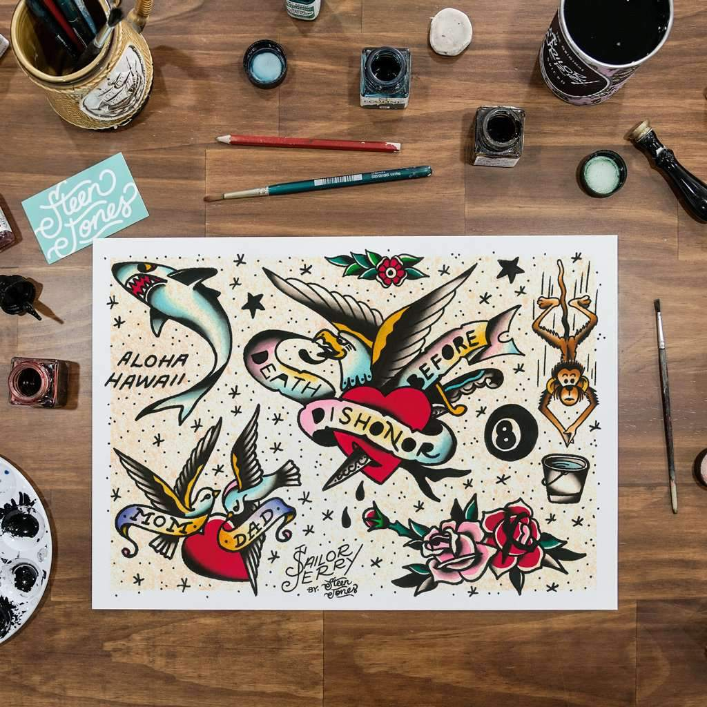 Steen Jones x Sailor Jerry 'Flash 8' Fine Art Print - Steenjones