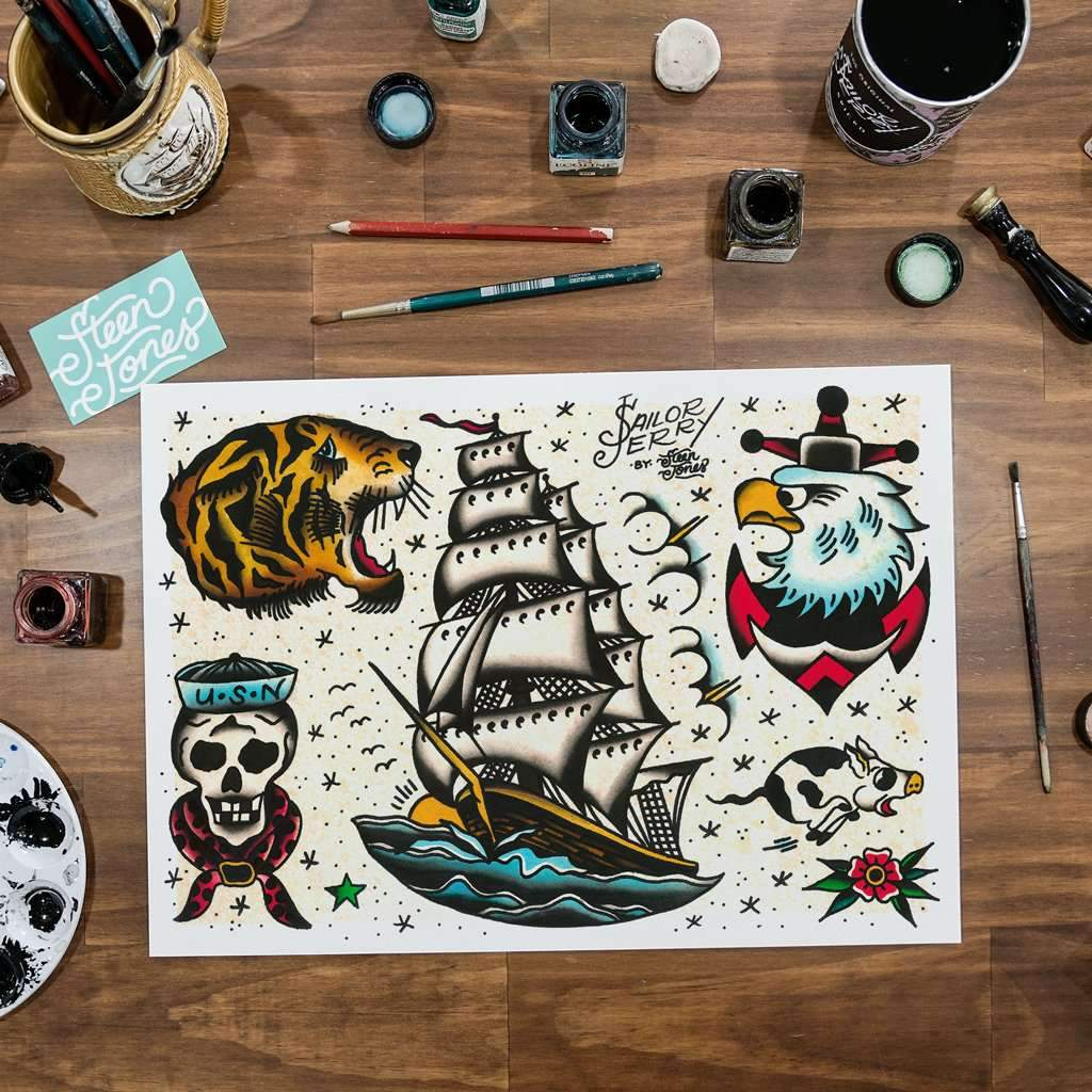 Steen Jones x Sailor Jerry 'Flash 9' Fine Art Print - Steenjones