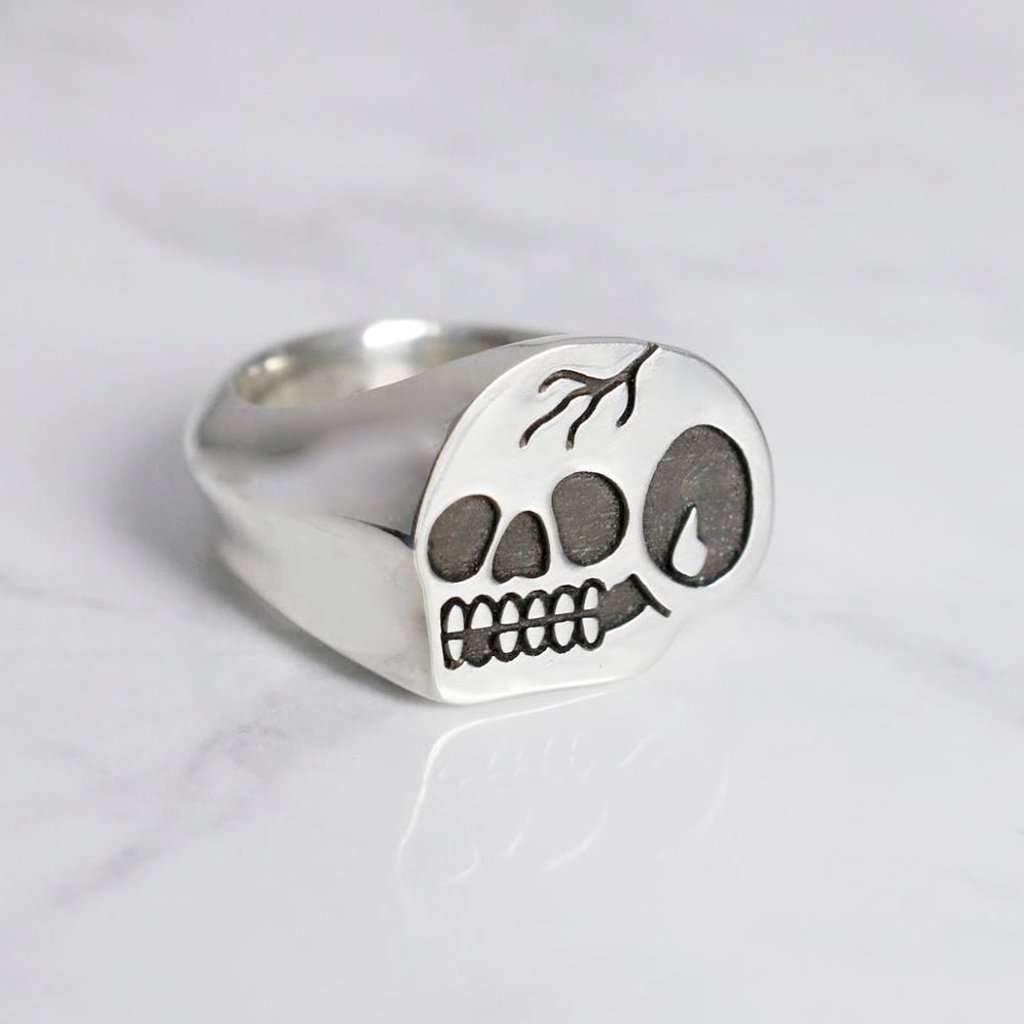 Steen Jones x Broken Lock 'Trademark Skull' Signet Ring - Steenjones