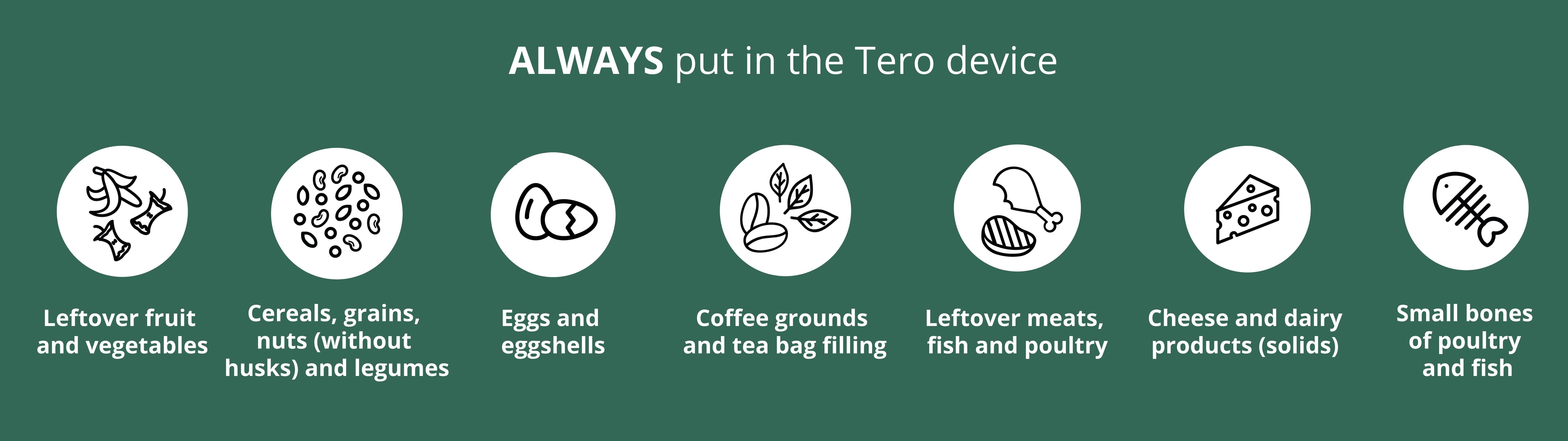 Foods that you can always put in the Tero device