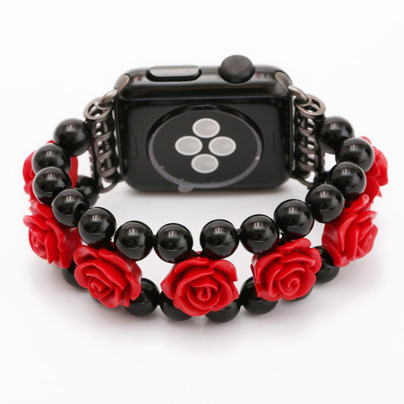 Apple Watch Red Rose Flower Agate Plastic Band Agate Watchband Stand