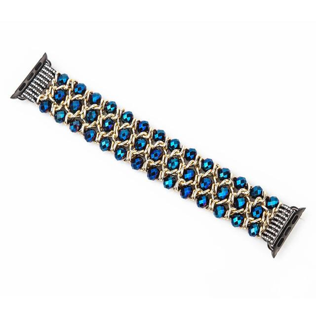 Apple Watch Bling Beads Stretch Bracelet Jewelry Watchband Stand Blue 38mm