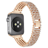 Bling Band for Apple Watch Jewelry Watchband Stand style1-Copper gold for 38mm