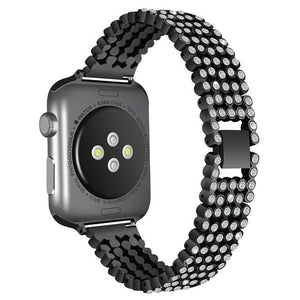 Bling Band for Apple Watch Jewelry Watchband Stand style1-Black for 38mm