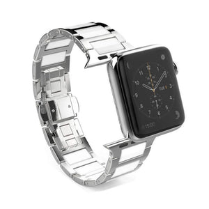 Apple Watch Stainless Steel Ceramic Link Bracelet Ceramic Watchband Stand