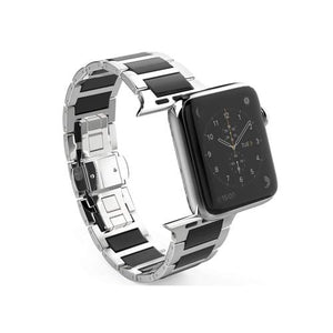 Apple Watch Stainless Steel Ceramic Link Bracelet Ceramic Watchband Stand China black 38mm