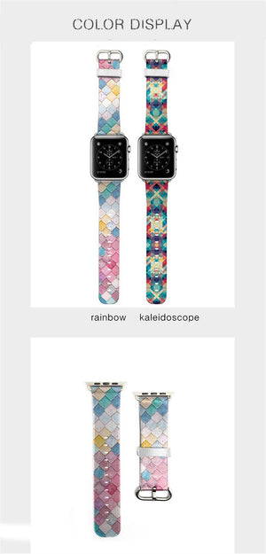 Apple Watch Rainbow Kaleidoscope Tile Band Watchband Stand