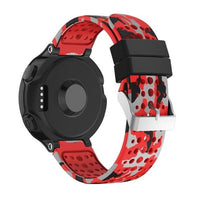 Garmin Fenix Sport Spice Silicone WatchBand Stand Red Gray Pattern