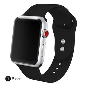 Apple Watch Silicone Sports Band Watchband Stand Black 38MM SM