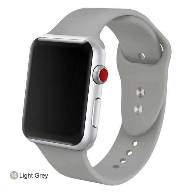 Apple Watch Silicone Sports Band Watchband Stand Light Grey 38MM SM
