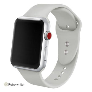 Apple Watch Silicone Sports Band Watchband Stand Retro white 38MM SM