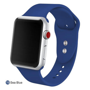 Apple Watch Silicone Sports Band Watchband Stand Sea Blue 38MM SM