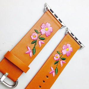 Apple Watch Embroidered Flower Power Band Watchband Stand