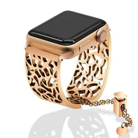 Apple Watch Carved Steel Watchband Bangle Jewelry Watchband Stand Rose Gold 38mm