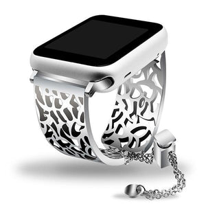 Apple Watch Carved Steel Watchband Bangle Jewelry Watchband Stand Silver 38mm