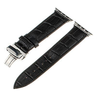 Apple Watch Band Genuine Calf Leather Watchband Stand Black 38mm