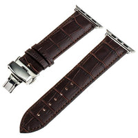 Apple Watch Band Genuine Calf Leather Watchband Stand Dark Brown 38mm