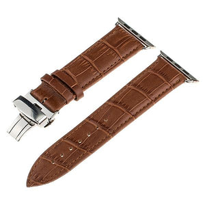 Apple Watch Band Genuine Calf Leather Watchband Stand Light Brown 38mm