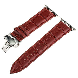 Apple Watch Band Genuine Calf Leather Watchband Stand Red 38mm