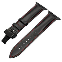 Apple Watch Italian Calf Leather Racer Band Watchband Stand Black B 38mm
