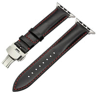 Apple Watch Italian Calf Leather Racer Band Watchband Stand Black S 38mm