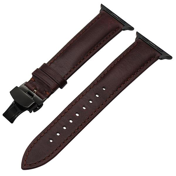 Apple Watch Italian Calf Leather Racer Band Watchband Stand Dark Brown B 38mm