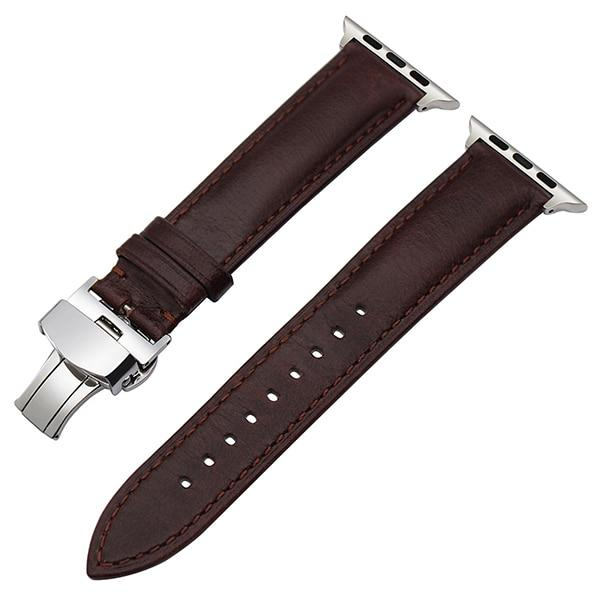 Apple Watch Italian Calf Leather Racer Band Watchband Stand Dark Brown S 38mm
