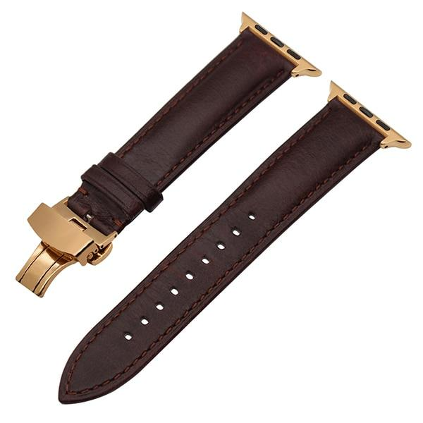 Apple Watch Italian Calf Leather Racer Band Watchband Stand Dark Brown RG 38mm