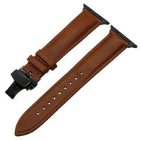 Apple Watch Italian Calf Leather Racer Band Watchband Stand Light Brown B 38mm