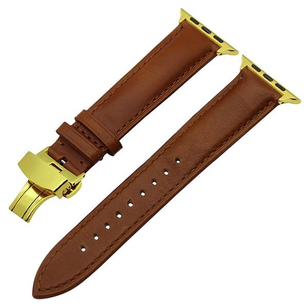 Apple Watch Italian Calf Leather Racer Band Watchband Stand Light Brown G 38mm