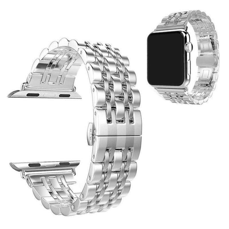 Apple Watch Stainless Steel Crystal Strap WatchBandStand Silver