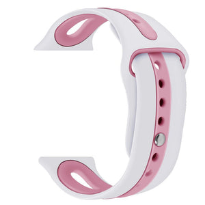 Apple Watch Silicone Sport Band WatchBandStand White Pink
