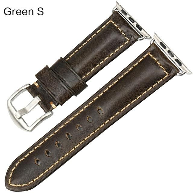 Apple Watch Leather Oil Wax Band Watchband Stand Green S For Apple Watch 38mm