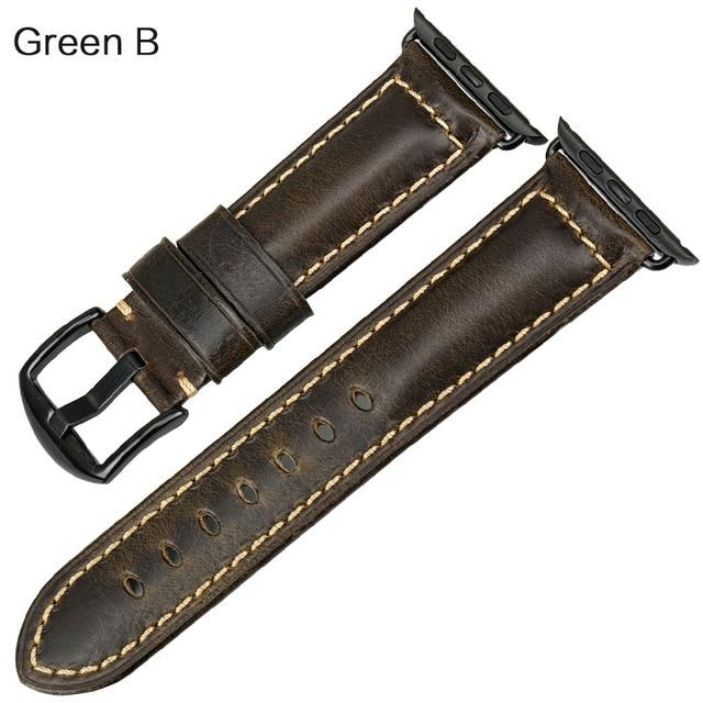 Apple Watch Leather Oil Wax Band Watchband Stand Green B For Apple Watch 38mm