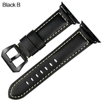 Apple Watch Band Vintage Leather Band Watchband Stand Black B For Apple Watch 38mm