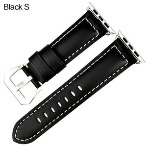 Apple Watch Band Vintage Leather Band Watchband Stand Black S For Apple Watch 38mm