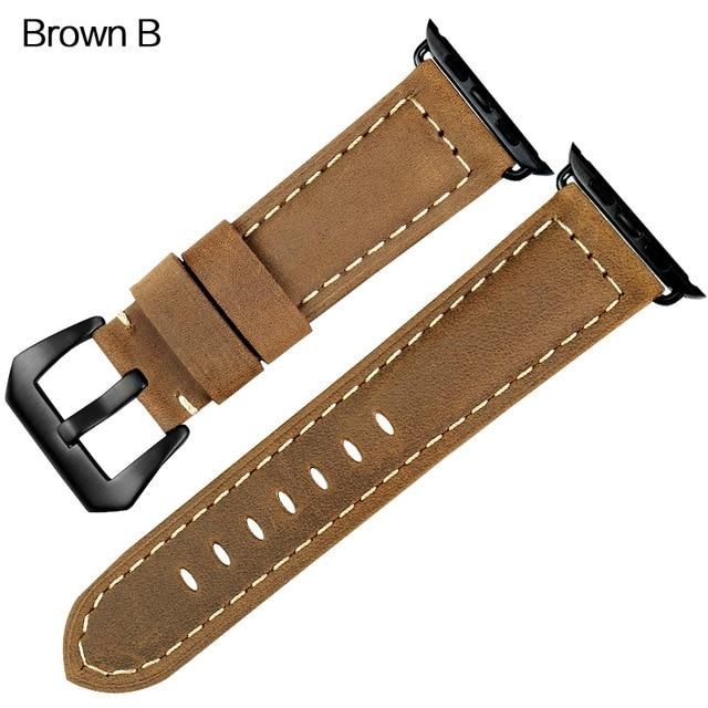 Apple Watch Band Vintage Leather Band Watchband Stand Brown B For Apple Watch 38mm