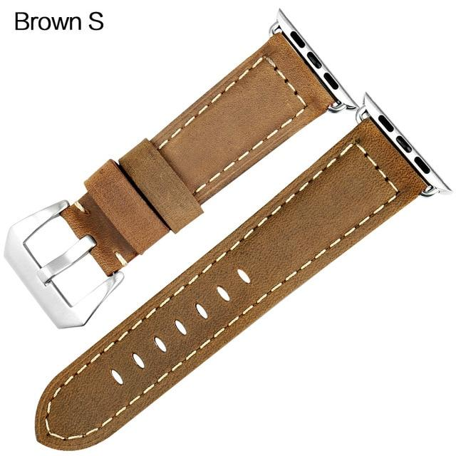 Apple Watch Band Vintage Leather Band Watchband Stand Brown S For Apple Watch 38mm