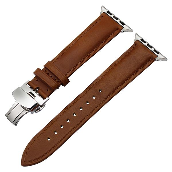 Apple Watch Smooth Genuine Italian Leather Band Watchband Stand Light Brown S 38mm