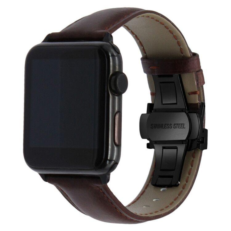 Apple Watch Smooth Genuine Italian Leather Band Watchband Stand