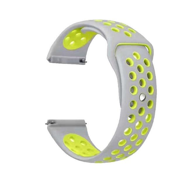 Samsung Gear Perforated Silicone WatchBand Stand Silver yellow 20mm or S2 Classic