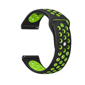 Samsung Gear Perforated Silicone WatchBand Stand black green 20mm or S2 Classic