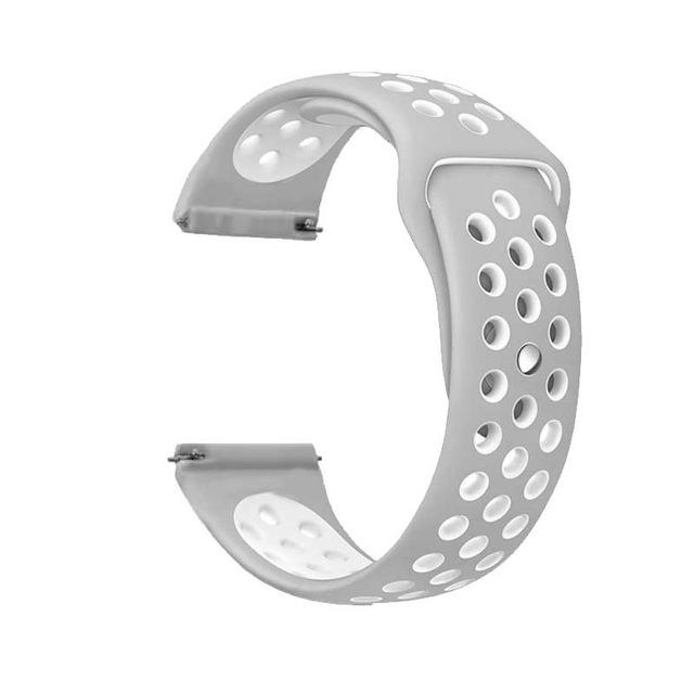Samsung Gear Perforated Silicone WatchBand Stand Gray white 20mm or S2 Classic