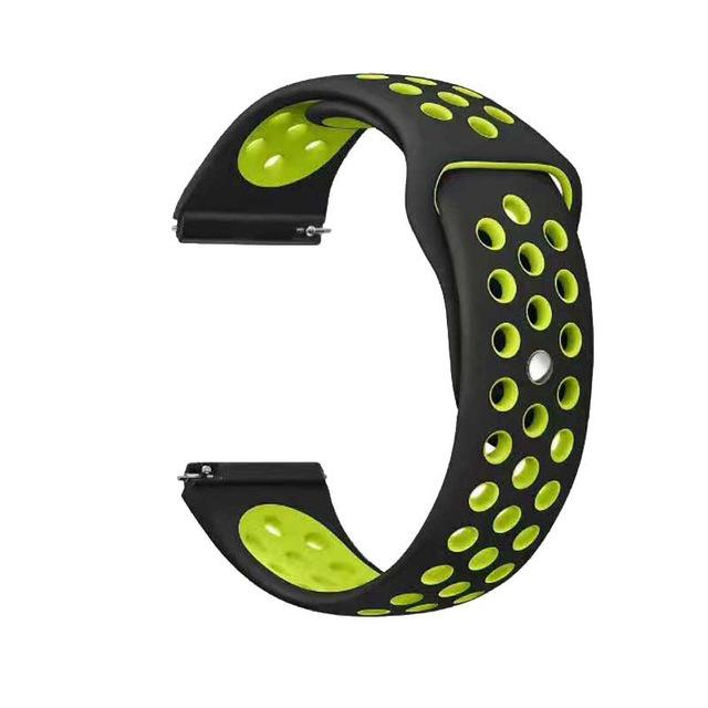 Samsung Gear Perforated Silicone WatchBand Stand Black yellow Green 20mm or S2 Classic