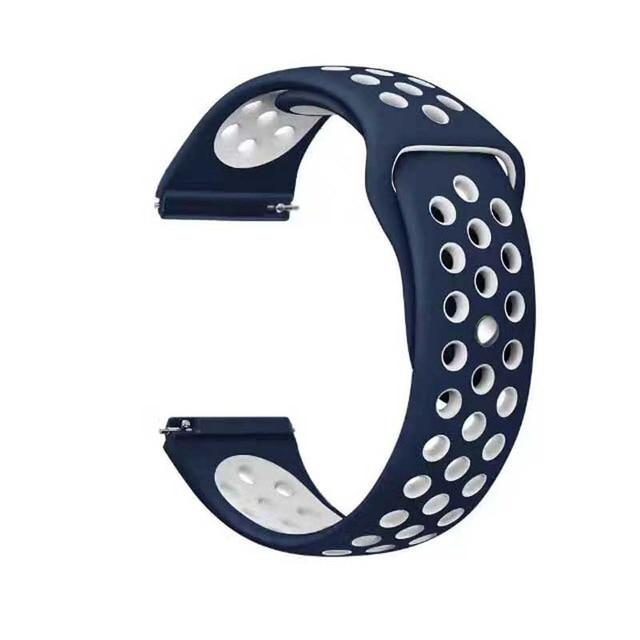 Samsung Gear Perforated Silicone WatchBand Stand Midnight blue white 20mm or S2 Classic