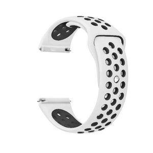 Samsung Gear Perforated Silicone WatchBand Stand White black 20mm or S2 Classic