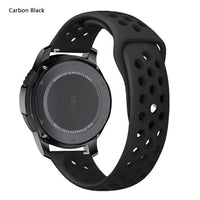 Samsung Gear Perforated Silicone WatchBand Stand Carbon Black 20mm or S2 Classic