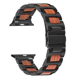 Apple Watch Combo Natural Wood + Stainless Steel Watchband Watchband Stand Black Red Sandal 38mm